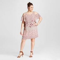 Women's Plus Size Mixed Floral Print Cold Shoulder Shift Dress Pale Blush - Lily Star : Target