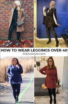 How to wear leggings over 40 - a complete guide | 40plusstyle.com How To Wear Leggings, Best Leggings, Joggers Outfit, Over 40, Trousers, Womens Fashion, Outfits, Clothes, Outfit Ideas