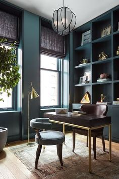 Dramatic, colorful, monochrome library and home office | CONSORT Interior Design Inspiration and Decor