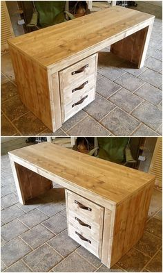 Upcycle Your Junk Pallet Wood For New Look This is a complete pallet wooden study desk for your kids. This desk has a wide upper area for placing kid's stationery items, books etc. and the lower three Pallet Closet, Wooden Closet, Pallet Beds, Wood Pallet Furniture, Recycled Pallets, Wooden Pallets, Pallet Wood, Diy Pallet Projects, Woodworking Projects