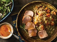 Tangy Ginger Pork with Autumn Rice from Publix Aprons.  I sampled this at my local Publix.  The rice which has butternut squash and dried cranberries is so so good.  Try this recipe!