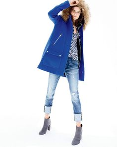 OCT '15 Style Guide: J.Crew women's chateau parka in stadium-cloth, boy shirt in crinkle gingham, slim broken-in boyfriend jean in Holdom wash and Adele suede ankle boots.