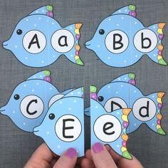 fish alphabet puzzles for preschool and kindergarten Ocean Activities, Alphabet Activities, Preschool Learning, Kindergarten Activities, Classroom Activities, Alphabet Phonics, Alphabet Crafts, Preschool Letters, Preschool Crafts