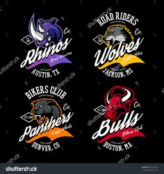 Vintage American furious bull, wolf, panther, rhino bikers club tee print vector design.   Street wear t-shirt emblem. Premium quality wild animal superior logo concept illustration.