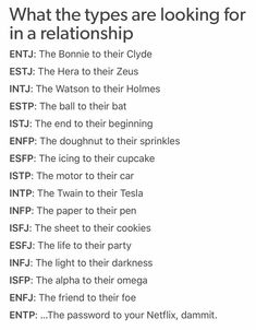 MBTI and what are they looking for in their relationship. Infp Personality Type, Personality Psychology, Entj Relationships, Infp Infj Relationship, Intj And Infj, Myers Briggs Personalities, Entp, Leadership Quotes, Survival Tips