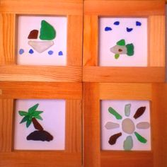 Some cute beach pictures made out of beach glass from Lake Erie. by elizabeth Sea Glass Beach, Sea Glass Art, Beach Stones, Beach Crafts, Diy Crafts, Cute Beach Pictures, Sea Glass Crafts, Lake Erie, Glass Flowers