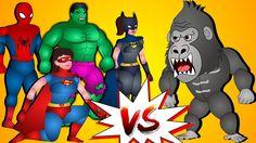 Finger Family Collection | Superheroes Vs Gorilla Finger Family | Epic B...