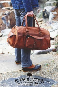 Men's vintage leather duffle bag. Genuine leather with antique brass rivets and hardware. Full grain leather, finished and tanned in camel.  men's fashion | duffel bag leather | men's casual style