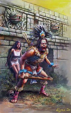 Aztec warrior- by Игорь Савченко More Native Art, Native American Art, American History, Art Chicano, Chicano Tattoos, Aztecas Art, Mexican Artwork, Aztec Tattoo Designs, Aztec Empire