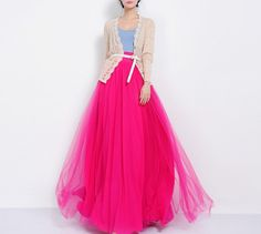 SALE Long Pink Floor Length Tulle Full Pleated Skirt by ChineseHut, $136.00