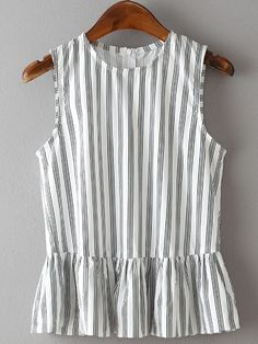 - Vertical Striped Peplum Top - Black + white striped blouse - Peplum ruffle accents - Sleeveless - Fabric has no stretch. - Available in three sizes - Please allow weeks for delivery due to popul Blouse Peplum, Peplum Tops, Sleeveless Tops, Vertical Stripes, Leila, Blouse Styles, Blouses For Women, Dress To Impress, Fashion Design