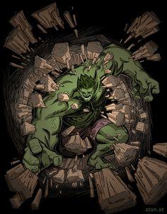 #Hulk #Fan #Art. (Hulk Crash!) By:Christof Stanits. (THE * 5 * STÅR * ÅWARD * OF: * AW YEAH, IT'S MAJOR ÅWESOMENESS!!!™) ÅÅÅ+