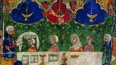 Los judíos sefarditas: quiénes fueron y quiénes son.Miniatura medieval procedente de Barcelona y conservada en la British Library de Londres que refleja la celebración de un rito judío (Pessah)