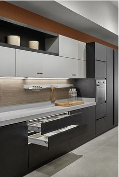 dark and light grey with white interior carcass overhead open shelving