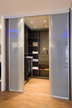 Sliding doors/walk in wardrobe Bedroom Closet Design, Bedroom Wardrobe, Closet Designs, Walk In Wardrobe, Walk In Closet, Loft Storage, Dressing Room Design, Bedroom Cupboards, Dream Closets