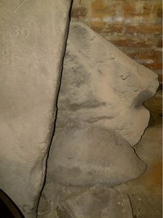 Headstone fragments, Conference House basement