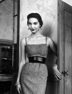 50s-60s, Sherry Nelms in a tweed slip.