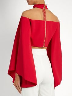 Balmain High-neck tulle-insert cropped top Classy Outfits, Stylish Outfits, Kurti Back Neck Designs, Mode Ootd, Cropped Tops, Stylish Tops, African Fashion, Blouse Designs, Fashion Dresses