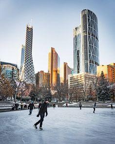 The city of Calgary, Alberta, Canada. Outdoor Skating, Skating Rink, Calgary, The Locals, Olympics, Skate, New York Skyline, Tourism, Canada