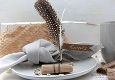 Driftwood and feather place holders Place Holder, Fiber Rich Foods, Good Environment, Blog, Driftwood, Feather, Wedding, Decorating Cups, Shells And Sand