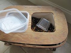 DIY Elevated Dog Dish...the food is stored inside, so just lift out the bowl and scoop the food in
