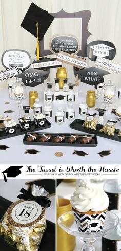 Gold and Black Graduation Party Supplies - Tassle Worth the Hassle Grad Party Ideas from BigDotOfHappiness.com