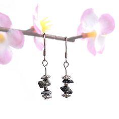 Stone Earrings, Silver Earrings, Dangle Earrings, Silver Jewelry, Obsidian Stone, Snowflake Obsidian, Hippie Jewelry, Earring Backs, Natural Gemstones