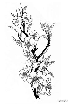 With sparrows or hummingbirds instead of leaves Kunst Tattoos, Tattoo Drawings, Flower Tattoo Designs, Flower Tattoos, Cool Tattoos, Tatoos, Tattoo Fleur, Flower Sketches, Floral Illustrations