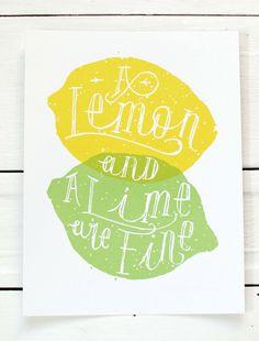 screen printed poster Lemons & Limes by SlideSideways on Etsy