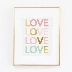 Pink, Gold, & Seafoam Green LOVE Art | Gold and Pink Art | Nursery Print | Office Decor | Gold Art |