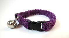 Adjustable Cat Collar Purple with Bell by BrumbysYarns on Etsy, $10.00