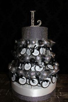 Black & Silver Cake Pops and Stand by RW Chocolate Fountains, www.rwchocolatefountains.com