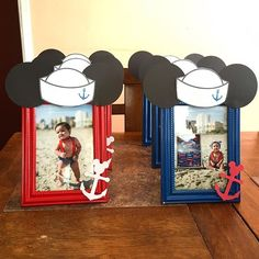 ❤️⚓️ Finally done with Preston Blue's picture frames Special thanks once again to for taking such amazing pictures! It was so hard to choose only 12 I bought the frames from the Dollar Tree and spray painted them red and blue, I used Sailor Birthday, Sailor Party, Sailor Theme, Mickey Mouse 1st Birthday, 1st Birthday Themes, Baseball Birthday Party, Mickey Party, First Birthday Parties, Birthday Ideas