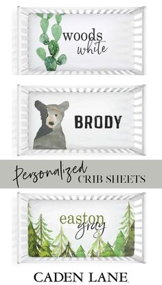 Personalize It! The most fun and adorable personalized crib sheets for the nursery! Toddler Bed Sheets, Crib Sheets, Jungle Nursery, Woodland Nursery, Nursery Design, Nursery Decor, Nursery Ideas, Little Babies, Baby Kids