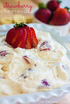 STRAWBERRY CHEESECAKE SALAD: 12 oz whipped topping, 1 small pkg cheesecake pudding, 3 (6 oz) strawberry yogurt, 1 lb fresh strawberries 3 bananas, miniature marshmallows (optional)