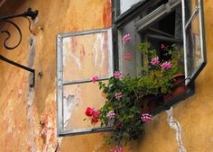 Sighisoara la sfarsit de august. Cetatea Veche. Flori la ferestre