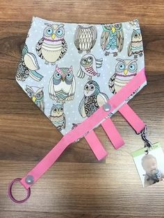 Reversible Binkie Bib - Owls & Silver Hexagons