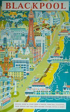 vintage travel poster mid-century travel poster to Japan, Shigeo Fukuda Illustration by fanny Blackpool travel poster 1958 SARASOTA / SIEST. British Travel, British Seaside, British Isles, Posters Uk, Railway Posters, Train Posters, Vintage Travel Posters, Vintage Postcards, Paris Torre Eiffel