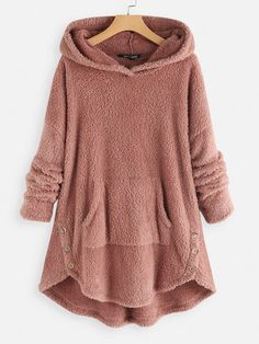 Amazing Fleece Asymmetrical Button Hem Plus Size Hoodie on Newchic, there is always a plus size hooded sweatshirts that suits you! Look Fashion, Winter Fashion, Fashion Outfits, Womens Fashion, Fashion Night, Fashion Edgy, Fashion Spring, Fall Outfits, Fashion Trends