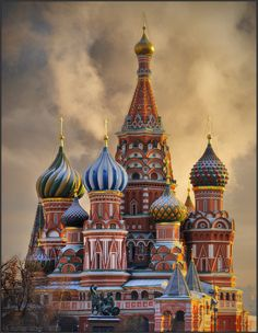 The Cathedral of St. Basil (Vasily) the Blessed on the Red Square.  Photo by Andrey Jitkov. What an awesome shot!  #photography