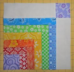 After my Extra Credit jelly roll log cabin pattern, I always meant to make another quilt block with little pieces--but from layer cake. Quilt Block Patterns, Pattern Blocks, Quilt Blocks, Nancy Zieman, Quilting Tutorials, Quilting Projects, Quilting Ideas, Log Cabin Quilts, Log Cabins