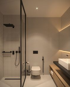 Tiny Apartment - small apartment interior design by Bezmirno Small Apartment Design, Modern Bathroom Design, Bathroom Interior Design, Kitchen Interior, Bathroom Designs, Minimalist Bathroom Design, Contemporary Bathrooms, Room Kitchen, Design Bedroom
