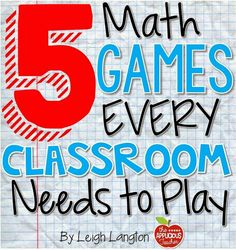 5 Math Games Every Classroom Needs to Play - Awesome guest post and freebie by Leigh from the Applicious Teacher with 5 terrific (and easy) math games. Games make math more fun! Math Teacher, Math Classroom, Teaching Math, Kindergarten Math, Math Math, Classroom Layout, Kids Math, Math Multiplication, Classroom Freebies
