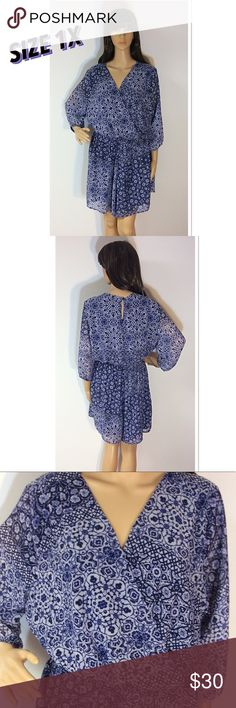 """SZ 1X SPEECHLESS SHORTS ROMPER Beautiful romper in a bold blue print with elastic at the waist for extra room if needed and a keyhole button back. Like new condition. Measurements lying flat Armpit to armpit 23"""" length 35"""" Speechless Shorts"""