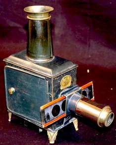 A magic lantern is essentially an old-fashioned slide projector that was used during the 19th and early 20th centuries. To operate the lantern, the lamp inside the lantern is lit, creating a light source, which then allows the slide to be projected through a lens onto a blank wall. This lantern, ca. 1900, was passed down for three generations in the family of the donor, William Jordan. The donation includes twelve lantern-slides, the lantern itself and the original box.