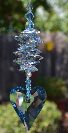 Blue Wild Heart Crystal Heart Rainbow Suncatcher for Car or Home