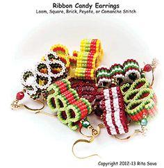 Ribbon Candy Earrings by Rita Sova