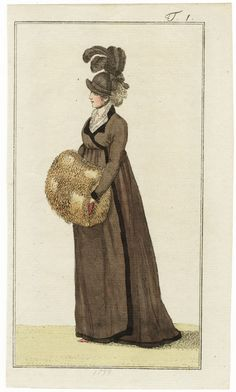 Journal des Luxus und der Moden 1799 n°1, Coat with Hat, Fur Muff, Hand-colored engraving