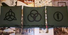 Led Zeppelin Four Symbols Dark Green Pillow Case Set with Black Symbols Applique Handmade 16x16 (pillow not included) Bottom weight cotton