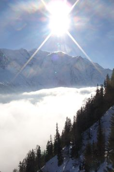 New Years Eve skiing Le Brevent, Chamonix. Temperature inversion in the valley looking over towards Mont Blanc.